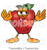 Vector Illustration of a Red Apple Mascot with His Heart Beating out of His Chest and Eyebrows Raised by Toons4Biz