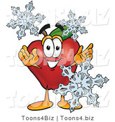 Vector Illustration of a Red Apple Mascot with Icy Snowflakes in Winter by Toons4Biz