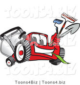 Vector Illustration of a Red Cartoon Lawn Mower Mascot Carrying a Hoe, Rake and Shovel While Gardening by Toons4Biz