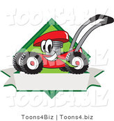 Vector Illustration of a Red Cartoon Lawn Mower Mascot Chewing Grass on a Blank Ribbon Label by Toons4Biz