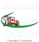 Vector Illustration of a Red Cartoon Lawn Mower Mascot Facing Front on a Logo or Nametag with a Green Dash by Toons4Biz