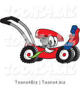 Vector Illustration of a Red Cartoon Lawn Mower Mascot Holding a Blue Telephone by Toons4Biz