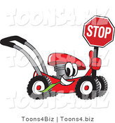 Vector Illustration of a Red Cartoon Lawn Mower Mascot Holding a Stop Sign by Toons4Biz