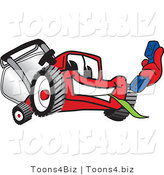Vector Illustration of a Red Cartoon Lawn Mower Mascot Holding out a Blue Telephone by Toons4Biz