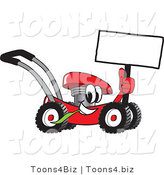 Vector Illustration of a Red Cartoon Lawn Mower Mascot Holding up a Blank Sign While Passing by by Toons4Biz