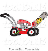 Vector Illustration of a Red Cartoon Lawn Mower Mascot Holding up a Saw by Toons4Biz