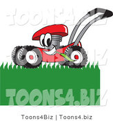 Vector Illustration of a Red Cartoon Lawn Mower Mascot Mowing Grass by Toons4Biz