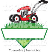 Vector Illustration of a Red Cartoon Lawn Mower Mascot Mowing Grass over a Blank White Label by Toons4Biz