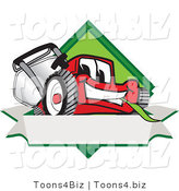 Vector Illustration of a Red Cartoon Lawn Mower Mascot on a Blank Label by Toons4Biz