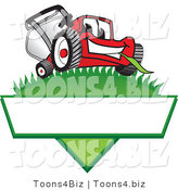 Vector Illustration of a Red Cartoon Lawn Mower Mascot on a Grassy Hill on a Blank Label by Toons4Biz