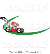 Vector Illustration of a Red Cartoon Lawn Mower Mascot on a Logo or Nametag with a Green Dash by Toons4Biz