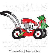 Vector Illustration of a Red Cartoon Lawn Mower Mascot Passing by and Carrying a Dollar Bill by Toons4Biz