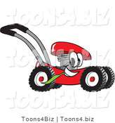 Vector Illustration of a Red Cartoon Lawn Mower Mascot Passing by and Chewing on a Blade of Grass by Toons4Biz