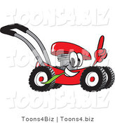 Vector Illustration of a Red Cartoon Lawn Mower Mascot Passing by and Pointing up by Toons4Biz
