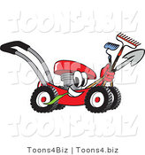 Vector Illustration of a Red Cartoon Lawn Mower Mascot Passing by with a Hoe, Rake and Shovel by Toons4Biz