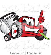 Vector Illustration of a Red Cartoon Lawn Mower Mascot Pointing Upwards by Toons4Biz
