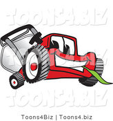 Vector Illustration of a Red Cartoon Lawn Mower Mascot Smiling and Eating Grass by Toons4Biz
