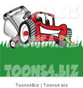 Vector Illustration of a Red Cartoon Lawn Mower Mascot Smiling While Mowing Grass by Toons4Biz