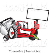 Vector Illustration of a Red Cartoon Lawn Mower Mascot Waving a Blank White Sign by Toons4Biz