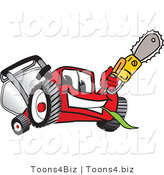 Vector Illustration of a Red Cartoon Lawn Mower Mascot Waving a Saw by Toons4Biz