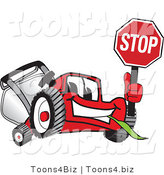 Vector Illustration of a Red Cartoon Lawn Mower Mascot Waving a Stop Sign by Toons4Biz