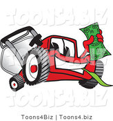 Vector Illustration of a Red Cartoon Lawn Mower Mascot Waving Cash by Toons4Biz