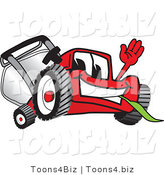 Vector Illustration of a Red Cartoon Lawn Mower Mascot Waving Hello and Eating Grass by Toons4Biz