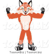 Vector Illustration of a Red Fox Mascot Flexing His Arm Muscles by Toons4Biz