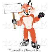 Vector Illustration of a Red Fox Mascot Holding a Blank White Sign by Toons4Biz