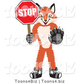 Vector Illustration of a Red Fox Mascot Holding a Stop Sign by Toons4Biz