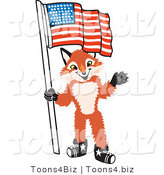Vector Illustration of a Red Fox Mascot Holding an American Flag by Toons4Biz
