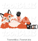 Vector Illustration of a Red Fox Mascot Lying on His Back and Waving by Toons4Biz