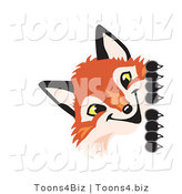 Vector Illustration of a Red Fox Mascot Peeking Around a Corner by Toons4Biz