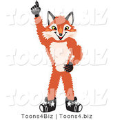 Vector Illustration of a Red Fox Mascot Pointing Upwards by Toons4Biz
