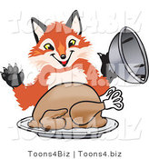 Vector Illustration of a Red Fox Mascot Serving a Thanksgiving Turkey on a Platter by Toons4Biz