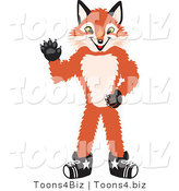 Vector Illustration of a Red Fox Mascot Waving by Toons4Biz