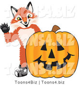 Vector Illustration of a Red Fox Mascot with a Halloween Pumpkin by Toons4Biz