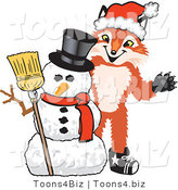 Vector Illustration of a Red Fox Mascot with a Snowman on Christmas by Toons4Biz