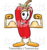 Vector Illustration of a Red Hot Chili Pepper Mascot Flexing His Arm Muscles by Toons4Biz