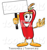 Vector Illustration of a Red Hot Chili Pepper Mascot Holding a Blank White Sign by Toons4Biz
