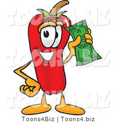 Vector Illustration of a Red Hot Chili Pepper Mascot Holding a Dollar Bill by Toons4Biz