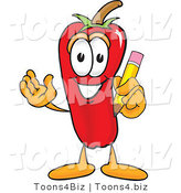 Vector Illustration of a Red Hot Chili Pepper Mascot Holding a Pencil by Toons4Biz