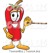 Vector Illustration of a Red Hot Chili Pepper Mascot Holding a Pointer Stick by Toons4Biz