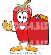 Vector Illustration of a Red Hot Chili Pepper Mascot Holding a Red Price Tag by Toons4Biz