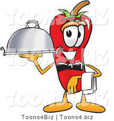 Vector Illustration of a Red Hot Chili Pepper Mascot Holding a Serving Platter by Toons4Biz