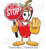Vector Illustration of a Red Hot Chili Pepper Mascot Holding a Stop Sign by Toons4Biz