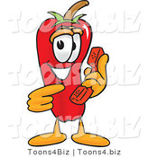 Vector Illustration of a Red Hot Chili Pepper Mascot Holding a Telephone by Toons4Biz