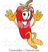 Vector Illustration of a Red Hot Chili Pepper Mascot Jumping by Toons4Biz