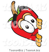 Vector Illustration of a Red Hot Chili Pepper Mascot Peeking Around a Corner by Toons4Biz