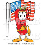 Vector Illustration of a Red Hot Chili Pepper Mascot Pledging Allegiance to the American Flag by Toons4Biz